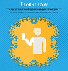 Inspector Floral flat design on a blue abstract vector image
