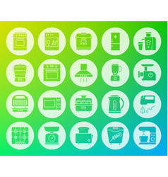 kitchen appliance carved flat icons set vector image