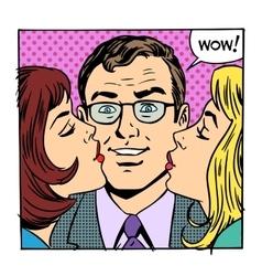 Love male female success joy kiss vector image
