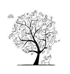 Magic unicorns tree sketch for your design vector
