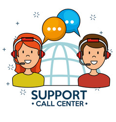 man and woman speaking by phone call center vector image