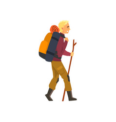 Man walking with backpack and stuff outdoor vector