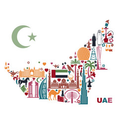 map united arab emirates consisting the vector image