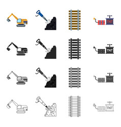 mining industry equipment and other web icon in vector image