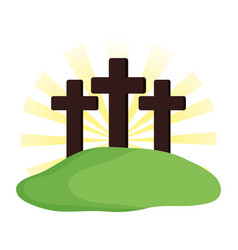 Mount calvary scene icon vector