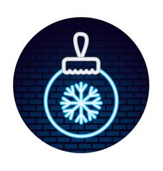 neon ball snowflake sticker merry christmas vector image