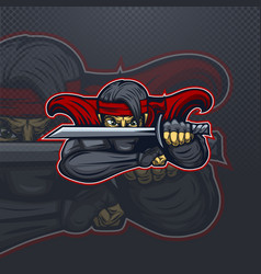 ninja in red in protection mascot logo for esport vector image