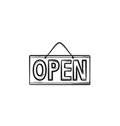 open sign drawn outline doodle icon vector image