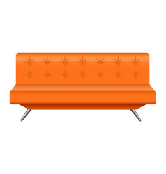 orange leather sofa mockup realistic style vector image