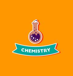 Paper sticker on stylish background chemistry vector