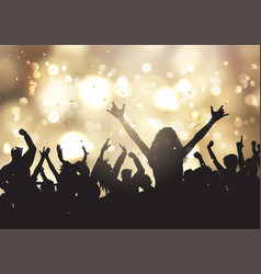 party people on gold bokeh lights background vector image