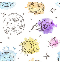 Pattern with planets and stars vector