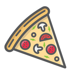 pizza slice filled outline icon food and drink vector image