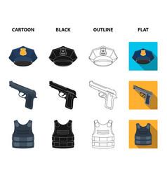 Radio police officer badge uniform cap pistol vector