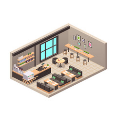 Realistic isometric cafe vector