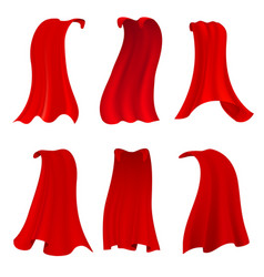 Red hero cape realistic fabric scarlet cloak or vector