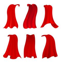 Red hero cape realistic fabric scarlet cloak vector