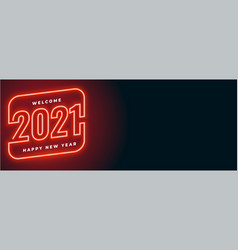 Red neon style 2021 happy new year banner design vector