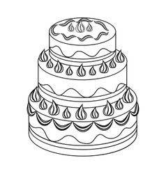 Red three-ply cake icon in outline style isolated vector
