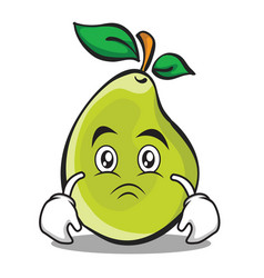 Sad face pear character cartoon vector