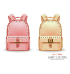 Satchel bags with pearls realistic back to vector