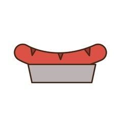 Sausage on plate icon vector