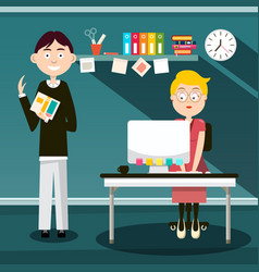 secretary and man with book in office - flat vector image
