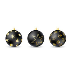 set black christmas balls with winter ornament vector image