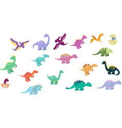 Set cute dinos set funny cartoon dinosaurs vector