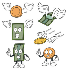 set of money cartoon vector image