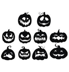 set pumpkins collection pumpkin faces for vector image