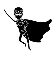 silhouette black full body superhero guy flying vector image