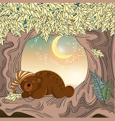 sleeping bear animal set vector image