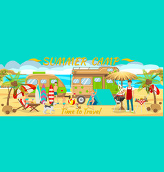 Summer camp on beach vector