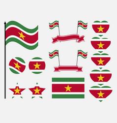 suriname flag set symbols flag in heart vector image