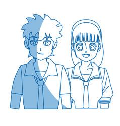 Teenager anime boy and girl hair style vector