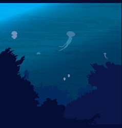 the ocean underwater world with jellyfish vector image