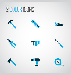 tools icons colored set with drill measurement vector image