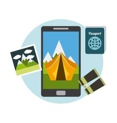 travel equipment set icons vector image