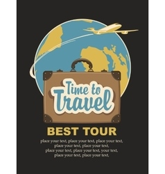 travel suitcase and the words travel time vector image