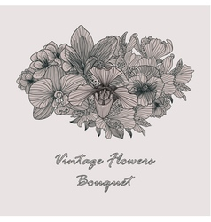 Vintage flowers composition on grey background vector