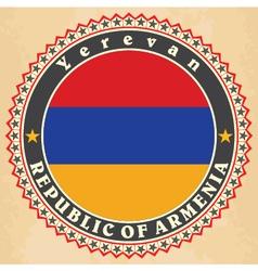 Vintage label cards armenia flag vector