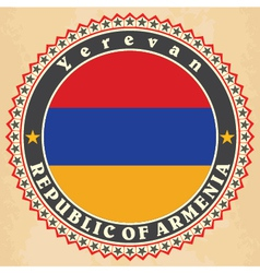 Vintage label cards of Armenia flag vector