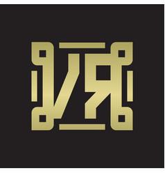 vr logo monogram with piece line art design vector image