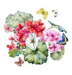 Watercolor geranium composition vector