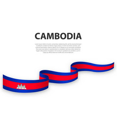 Waving ribbon or banner with flag cambodia vector