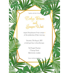 wedding invitation in a gold frame against a backg vector image