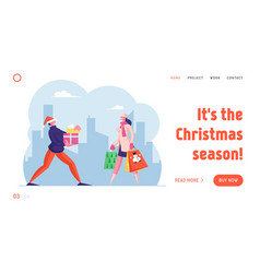 winter holidays shopping website landing page vector image