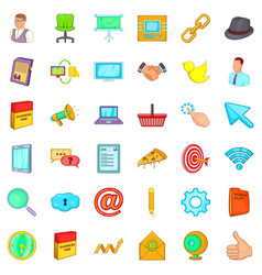 work man icons set cartoon style vector image