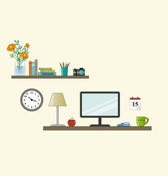 workplace in room - vektor flat style vector image